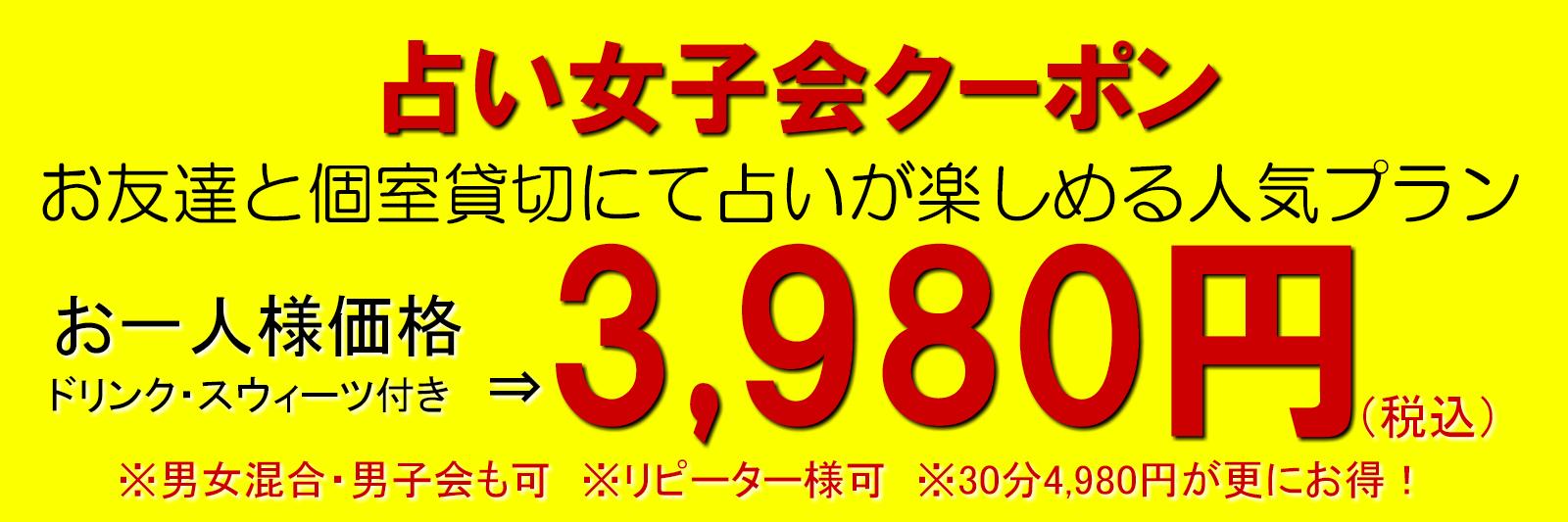 占い女子会クーポンをご利用いただければ、20分3980円・30分4980円にて占い女子会を開催していただくことが可能です。男女混合・男子会としてもご利用頂けます